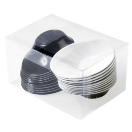 """Plastic Kom PS """"Sodo"""" wit en zwart 50 ml (20 stuks)"""