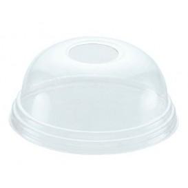 Plastic PET koepel Deksel met gat Ø9,3cm voor PET beker 420ml (100 stuks)