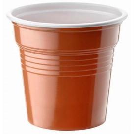 Plastic PS Shotje twee kleurig bruin 80ml Ø5,7cm (50 stuks)