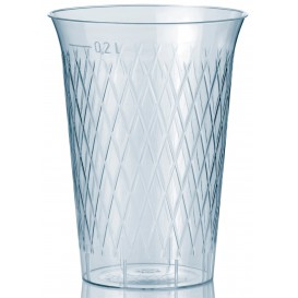 """Plastic PS beker Geïnjecteerde glascider """"Rombos"""" 200 ml (50 eenheden)"""