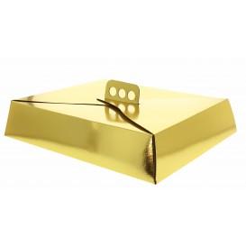 Papieren cake doosje Vierkant goud 19x25x8cm (50 stuks)