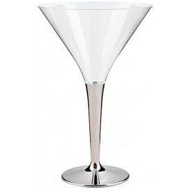 Verre à Cocktail Plastique Pied Argenté 100ml (48 Unités)