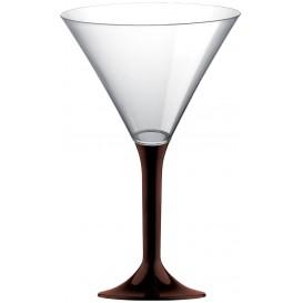 Flûte Plastique Cocktail Pied Marron 185ml 2P (200 Utés)