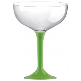 Flûte Champagne Plastique Pied Vert citron 200ml 2P (20 Utés)