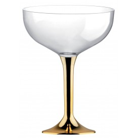 Plastic stam fluitglas goud chroom 200ml 2P (20 stuks)