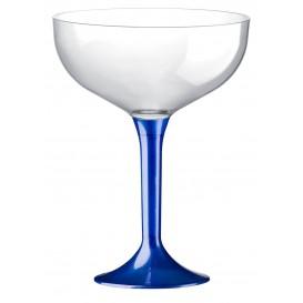 Flûte Champagne Plastique Pied Bleu Perlé 200ml (20 Unités)