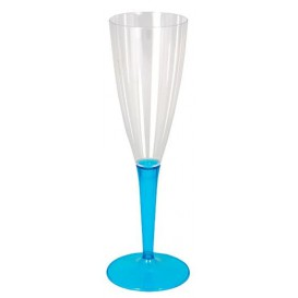 Flûte Champagne Plastique Turquoise 100ml (6 Unités)