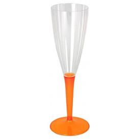 Plastic stam fluitglas Mousserende Wijn oranje 100ml (6 stuks)