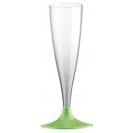 Flûte Champagne Plastique Pied Vert citron 140ml 2P (20 Utés)