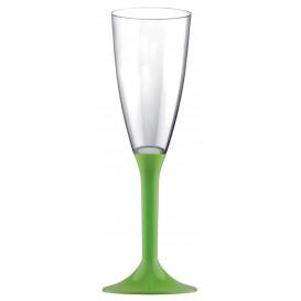 Flûte Champagne Plastique Pied Vert Citron 120ml 2P (200Utés)