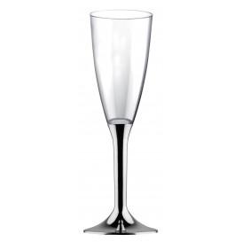 Flûte Champagne Plastique Pied Argent Chrome 120ml (200Utés)