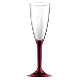 Flûte Champagne Plastique Pied Bordeaux 120ml 2P (20 Utés)