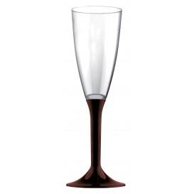 Flûte Champagne Plastique Pied Marron 120ml 2P (200 Utés)