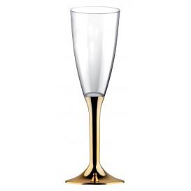 Flûte Champagne Plastique Pied Or Chrome 120ml (200Utés)