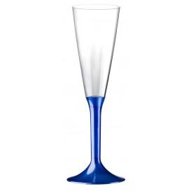 Plastic stam fluitglas Mousserende Wijn blauw parel 160ml 2P (20 stuks)