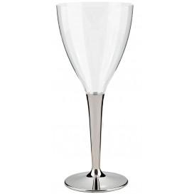 Plastic stamglas wijn zilver 130ml (100 stuks)