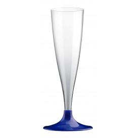 Flûte Champagne Plastique Pied Bleu Perlé 140ml 2P (20 Utés)