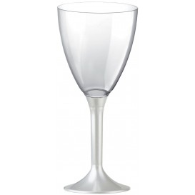 Plastic stamglas wijn wit parel verwijderbare stam 180ml (20 stuks)
