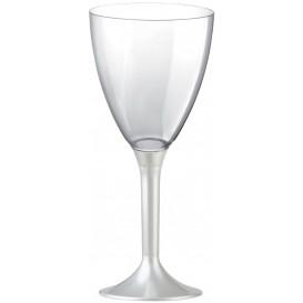 Plastic stamglas wijn wit parel verwijderbare stam 180ml (200 stuks)