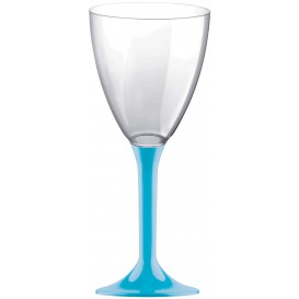 Plastic stamglas wijn turkoois verwijderbare stam 180ml (20 stuks)
