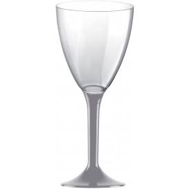 Plastic stamglas wijn grijs verwijderbare stam 180ml (20 stuks)