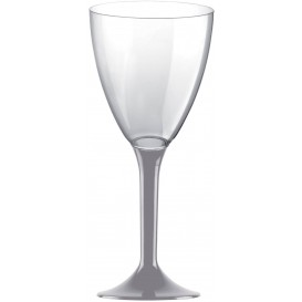 Plastic stamglas wijn grijs verwijderbare stam 180ml (200 stuks)