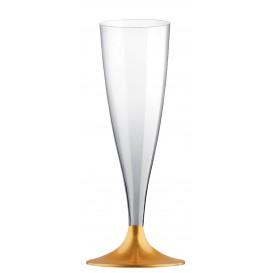 Flûte Champagne Plastique Pied Or 140ml 2P (20 Utés)