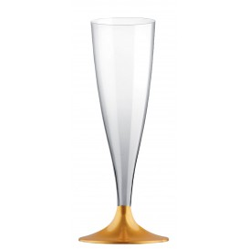 Flûte Champagne Plastique Pied Or 140ml 2P (400 Utés)