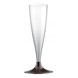 Flûte Champagne Plastique Pied Marron 140ml 2P (20 Utés)