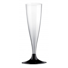 Plastic stam fluitglas Mousserende Wijn zwart 140ml 2P (6 stuks)