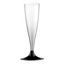 Plastic stam fluitglas Mousserende Wijn zwart 140ml 2P (120 stuks)