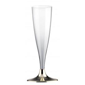 Plastic stam fluitglas Mousserende Wijn goud chroom 140ml 2P (20 stuks)