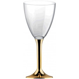 Flûte Plastique Vin Pied Or Chrome 180ml 2P (200 Utés)