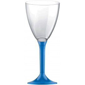 Flûte Plastique Vin Pied Bleu Transp. 180ml (20 Unités)