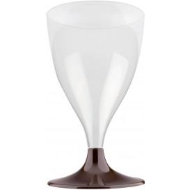 Flûte Plastique Vin Pied Marron 200ml 2P (400 Utés)