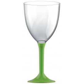 Flûte en Plastique Vin Pied Vert citron 300ml (20 Unités)