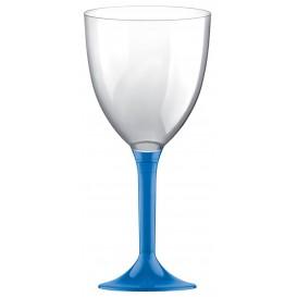 Flûte en Plastique Vin Pied Bleu Transp. 300ml (20 Unités)
