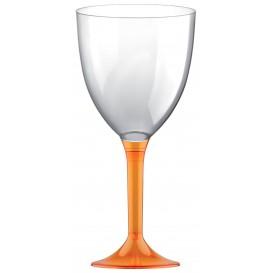 Flûte en Plastique Vin Pied Orange Transp. 300ml (20 Unités)