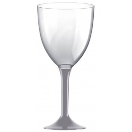 Flûte en Plastique Vin Pied Gris 300ml (20 Unités)