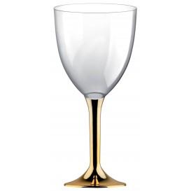 Flûte en Plastique Vin Pied Or Chrome 300ml (20 Unités)