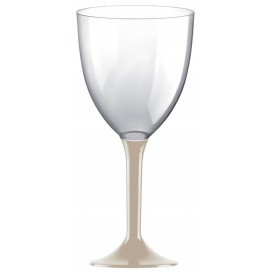 Flûte en Plastique Vin Pied Beige 300ml (20 Unités)