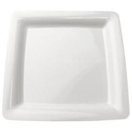 Plastic bord Vierkant extra sterk wit 22,5x22,5cm (20 stuks)