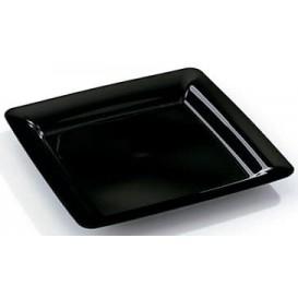 Plastic bord Vierkant extra sterk zwart 18x18cm (20 stuks)