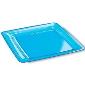 Assiette Carrée Extra Dur Turquoise 22,5x22,5cm (72 Unités)