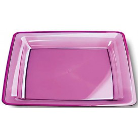 Plastic bord Vierkant extra sterk aubergine kleur 22,5x22,5cm (6 stuks)