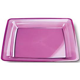 Plastic bord Vierkant extra sterk aubergine kleur 22,5x22,5cm (72 stuks)