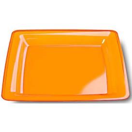 Plastic bord Vierkant extra sterk oranje 22,5x22,5cm (6 stuks)