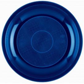 Assiette Plastique Réutilisable Plate Bleu PP Ø220mm (50 Utés)