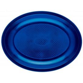 Plateau Plastique Réutilisable Ovale Bleu PP 255x190mm (600 Utés)