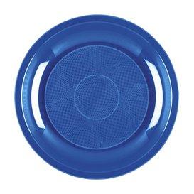 "Plastic bord Dessert mediterranean blauw ""Rond vormig"" PP Ø18,5 cm (50 stuks)"